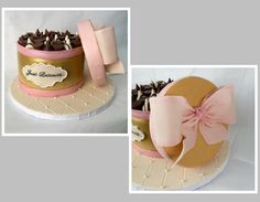 A Box of Chocolates Cake! A chocolate cake with vanilla buttercream and MMF. Shaped like a box of chocolates with a faux box top. Different chocolates top the cake.