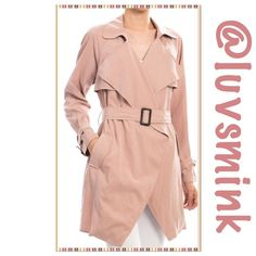 WIDE LAPEL TRENCH COAT IN BLUSH Softly draped, wrap around, wide lapel, Trench Coat in Blush.  Self tie belt, and matching cuffs. Fully lined. Polyester/Nylon 90/10, and Length of coat is 35 inches long. Available in Small, Medium, and Large. PLEASE ASK FOR A PERSONALIZED LISTING, do not purchase this Main Listing.  NO HOLD/TRADES. PRICE IS FIRM, unless bundled. Ellison Jackets & Coats
