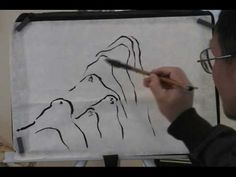 video- painting chinese landscape mountains