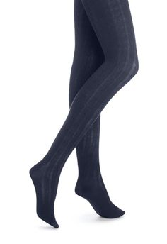 HUE Cable Sweater Tights navy