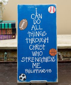 Inspire little athletes on and off the field and bring a playful but meaningful accent to bedroom walls with the bright hue and very wise words of this sign.