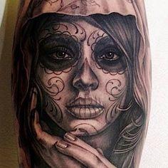 Dia de Los Muertos Virgin Mary tattoo