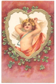 Ellen Clapsaddle - Cupid in Heart Frame, Shamrocks