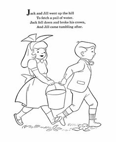 mother goose nursery rhymes coloring pages jack and jill coloring page