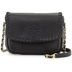 Tory Burch Marion Mini Flap Bag (£275) ❤ liked on Polyvore featuring bags, handbags, shoulder bags, black, zipper purse, black chain shoulder bag, tory burch purse, black handbags and woven purse