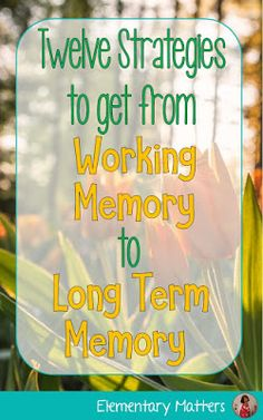 Twelve Strategies to Get from Working Memory to Long Term Memory: tricks to help students make learning stick! Memory Strategies, Adhd Strategies, Reading Strategies, Counseling Activities, Learning Activities, Working Memory, Social Stories Autism, Brain Based Learning, Brain Memory