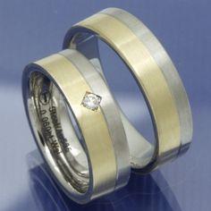Gold und Steel Trauringe aus Edelstahl und 585 Gelbgold PB209774