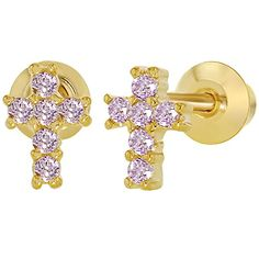 18k Gold Plated XS Pink Crystal Cross Crucifix Baby Children Girls Earrings 5mm * You can find out more details at the link of the image.