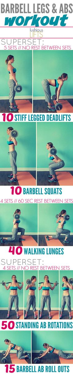 Barbell Legs & Abs Workout || Lushious Lifts