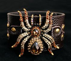 Leather, bronze and crystal tarantula cuff bracelet from Carousel Clothing & Accessories.