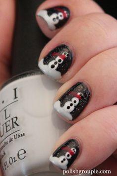 Christmas/Winter nail art: Snowmen