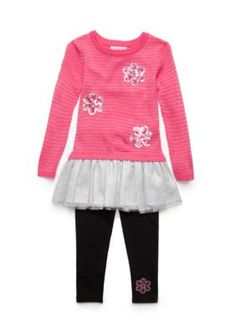 dabf06f3f8 Flapdoodles Dazzle Pink Lurex Stripe Daisy Sweater Dress Set Toddler Girls