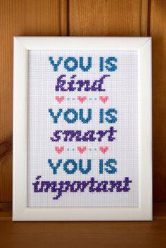 You is kind... completed cross-stitch sampler, 5x7 ins framed on Etsy, $48.75