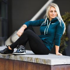 Get comfortable. Sandra Jokic in the Crest Hoodie Shop > https://gymshark.com/products/gymshark-crest-pullover-hoodie-lagoon-blue
