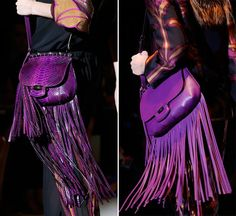 Gucci recommends the fringes, the tassels and bright colors like red, purple and neon blue. Suede is the handbag material of choice but we'll do with precious reptilian skin as well