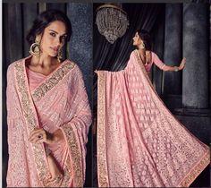 Indian Chikanwork Gota Embroidery BorderBollywood Wedding Wear Saree Blouse Sari   eBay Indian Wedding Lehenga, Saree Wedding, Wedding Wear, Blouse Neck Patterns, Saree Blouse Designs, Indian Attire, Indian Outfits, Peach Color Saree, Banarsi Saree