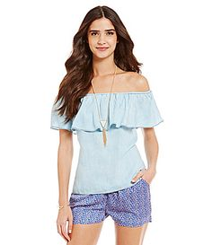 Skies Are Blue OfftheShoulder Tencel Top #Dillards