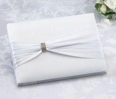 Lillian Rose™ White Sash with Rhinestone Guestbook - BedBathandBeyond.com