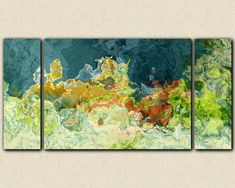 Abstract art triptych 30x60 to 40x78 gallery by FinnellFineArt, $375.00