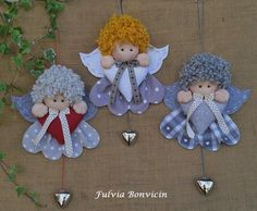 these angels are adorable! Elf Decorations, Christmas Tree Decorations, Christmas Tree Ornaments, Angel Crafts, Felt Crafts, Christmas Crafts, Merry Little Christmas, Christmas Angels, Handmade Christmas