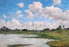 Eugène BOUDIN Landscape River Touques  #Normandie #Touques