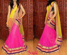 yellow and pink half sareess Bridal Dresses, Prom Dresses, Formal Dresses, Sari Design, Lehenga Gown, Half Saree, Indian Dresses, Indian Fashion, Cool Outfits