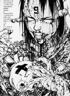 Creepy Sketches, Cool Drawings, Art Sketches, Manga Anime, Manga Art, Anime Art, Comic Kunst, Comic Art, Cyberpunk Kunst