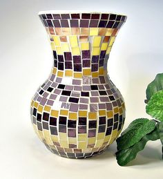 Hey, I found this really awesome Etsy listing at https://www.etsy.com/listing/130618378/stained-glass-mosaic-vase-plum-gold