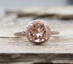 2.0 Cts. Morganite Diamond Ring in 14K Rose Gold by Studio1040. This is the one!