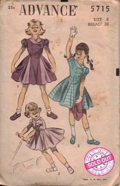 Advance 5715 Little Girls Dress Vintage 1940's Sewing Pattern Double Breasted