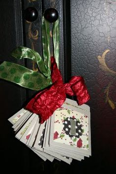Advent Calendar - you can use note cards or envelopes tied together with a ribbon.  Place something fun to do, scripture, notes of encouragement, or candy in them.  Then just hang it somewhere.  I like it because it's small!