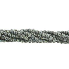 Designer Czech Glass 4mm Bead Strand, Black Picasso