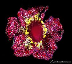 Cindy Chao 2016 Black Label Masterpieces, presented at the Biennale des Antiquaires: Pivoine Rogue brooch. Curvaceous petals of yellow diamonds and rubies accentuate a 150-carat center ruby