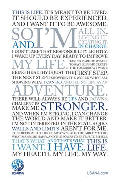 USANA Manifesto: The freedom to choose my own path, and the power to be true to myself. That's the way I live! #USANAlifestyle