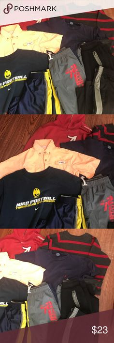 Big youth boys bundle size 10/12 3 pair of athletic pants. 3 short sleeve shirts. 2 long sleeve tops. 1 pair of athletic shorts.  All in good condition. All size 10/12 medium.                                       L5 nike Shirts & Tops Tees - Short Sleeve