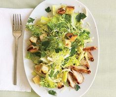 Grilled Chicken Caesar Salad with Garlic Croutons by Fine Cooking Veggie Recipes, New Recipes, Delicious Recipes, Cooking Recipes, Tasty, Favorite Recipes, Yummy Food, Healthy Recipes, Grilled Chicken