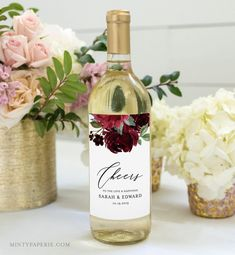 Drink Bottle Label Template New Pin by Minty Paperie On Wedding Extras by Mp In 2019 Wine - Professional Templates Custom Wine Labels, Wine Bottle Labels, Stationery Templates, Label Templates, Wine Favors, Personalized Wine Bottles, Bridal Shower Wine, Wine Gift Baskets, Basket Gift
