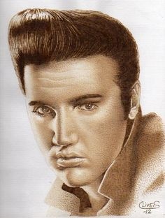 """""""Elvis"""" Pyrography on Paper. Pyrography Ideas, Wood Burning Art, Wood Creations, Woodcarving, Custom Engraving, Art Techniques, Wood Art, Wood Crafts, Mystic"""