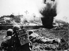 6th Marine Division blasts Japanese Position on Okinawa
