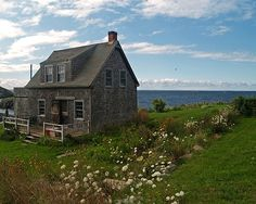 A little cottage by the sea, on Monhegan Island in Maine. Monhegan is beautiful, remote and unique - and quintessentially Maine. Maine Cottage, Cozy Cottage, Coastal Cottage, Coastal Living, Cottage Style, Cottages By The Sea, Cabins And Cottages, Beach Cottages, Beautiful Homes