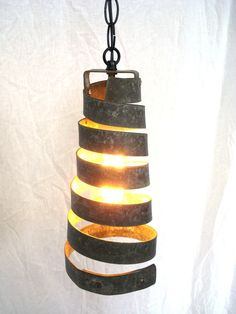 Wine Barrel Ring Hanging Pendant Light -Open -100% RECYCLED from Napa Wine Barrels. $45.00, via Etsy.