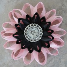 Pink and Black Corsage Pink and Black Wedding by PetalPerceptions, $12.00