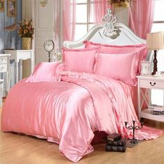 New arrival silk bedding set bed linen bedclothes bed sheet duvet cover textile printed black Queen&King size Pink Comforter Sets, Dark Bedding, Satin Bedding, Queen Bedding Sets, Comforter Cover, Bed Duvet Covers, Duvet Sets, Duvet Cover Sets, Duvet Bedding