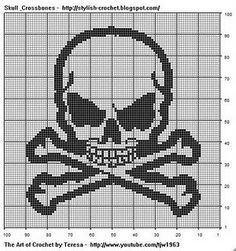 @ Nikki W < Free Filet Crochet Charts and Patterns: Filet Crochet Skull & Crossbones Filet Crochet Skull & Crossbones Pattern by Teresa Richardson Chain Chain 3 to to turn which will count as the first double. Filet Crochet Charts, Knitting Charts, Cross Stitch Charts, Cross Stitch Patterns, Crochet Cross, Knitting Patterns, Crochet Skull Patterns, Embroidery Patterns, Cross Stitching