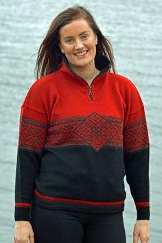 Norwegian sporty sweater in a traditional pattern. A classic nordic sweater in wool Nordic Sweater, Men Sweater, Cardigans For Women, Knitwear, Sporty, Pullover, Wool, Fashion, Moda