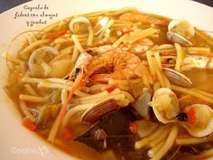 : Cazuela de fideos con almejas y gambas Güveç yemekleri Spanish Kitchen, Noodle Casserole, Homemade Beauty Products, Mexican Dishes, Tex Mex, Clams, Clean Eating Recipes, Japchae, Curry
