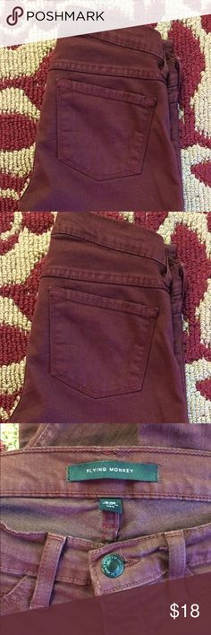 Burgundy Flying Monkey skinnies The 3rd photo's color isn't quite right (I need a new phone!) but they are a nice deep burgundy. Flying Monkey Jeans Skinny