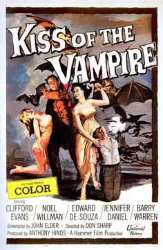 KISS OF THE VAMPIRE (1964) U.S poster 41x27. Art Joe Smith. Gerald and Marianne Harcourt's car breaks down and they have to spend a few days in a small, remote village. It doesn't take long before they are invited to Dr. Ravna's castle. Without their knowledge, Dr. Ravna is the leader of a vampire cult, and he has become astonished by Marianne's beauty…imdb. The Art of Hammer by Marcus Hearn. (please follow minkshmink on pinterest) #hammerhorror #kissofthevampire