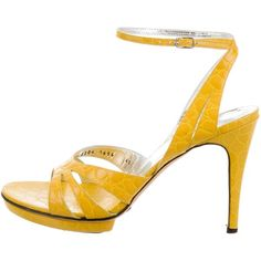 Pre-owned Dolce & Gabbana Multistrap Leather Sandals ($145) ❤ liked on Polyvore featuring shoes, sandals, yellow, yellow shoes, dolce gabbana shoes, leather buckle sandals, buckle shoes and real leather shoes