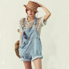 ♡♡♡♡♡♡♡♡♡♡♡♡♡♡♡ We love these trendy denim overalls! Fit Type: Loose Decoration: Pockets Pattern Type: Solid Style: Casual Fabric Type: Denim Material: Cotton Length: Shorts size Waist Width(cm) Hip W